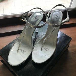 Lucite Silver Heels Sz 8